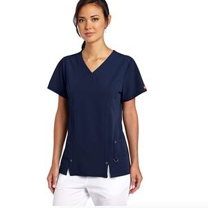 Dickies Women's stretch Scrub Top, navy, small